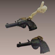 Cracker Jacks Toys Black Hand Gun Two Pieces