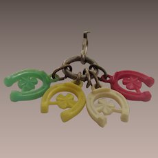 Cracker Jacks Toy Key Chain with Four Horse Shoes and Clover