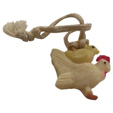 Cracker Jacks Toy Mother Hen with Chick on Her Back