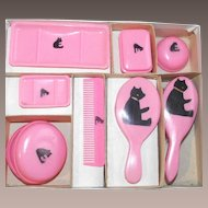 Mid-Century Dolls Toilet Set - Eight Piece Set - Made in Japan in Original Box with Teddy Bears