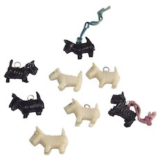 Cracker Jacks Toys Eight Black and White Scottie Dogs