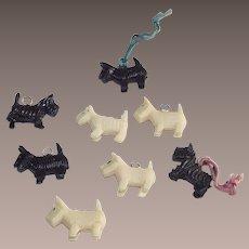 Cracker Jacks Toys Eight Black and White Scottie Dogs