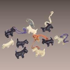 Cracker Jacks Toys Ten Black and White Scottie Dogs