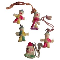 Cracker Jacks Toys Five Piece Clowns