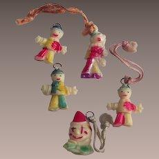 Cracker Jacks Toys Five Piece Clowns