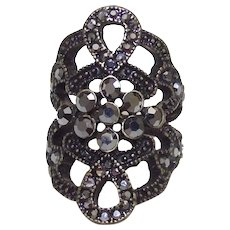 Large Fashion Ring Gold Tone With Marcasite's