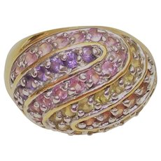 Multi Colored Stone Dome Style Ring