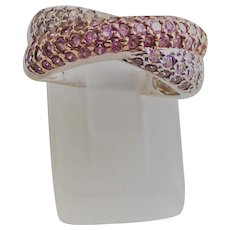 Sterling Pink and Clear Crossover Band Ring