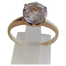 10Kt Gold Fill Ring Clear Paste Stone Engagement Style  5MM
