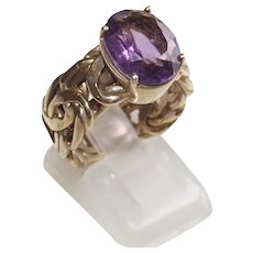 Gold over Silver Byzantine Ring with Large Amethyst Stone