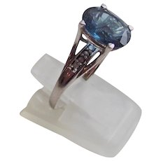 London Blue and Clear Topaz Ring in Sterling