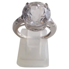 Herkimer Clear Quartz Crystal Ring Sterling Silver 5.14ctw