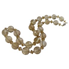 Citrine and Rock Crystal Necklace 14Kt Gold Clasp