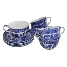 Japanese Blue Willow Cup and Saucer Five Sets 1950s