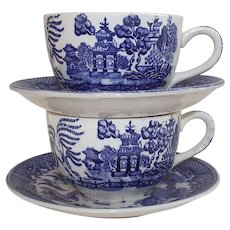 American Blue Willow Cup and Saucer Two Sets 1950s