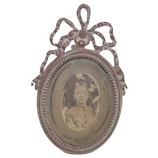Table Top Oval Picture Frame  with Large Ribbon Bow Late Victorian