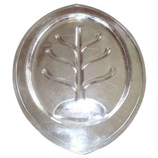 Arts and Crafts Well and Tree Platter by Derby Silver Plate Footed with Hand Hammered Rim