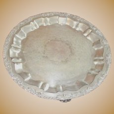 Silver Plate Round Serving Tray with Four Legs