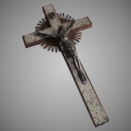 Wall Crucifix with Rhinestones and Sun Rays circa 1930's
