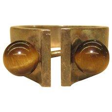 Hans Hansen Denmark Sterling Silver Ring Tigers Eye Stones