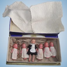1930s Dionne Quints - Quintuplets Composition Dolls and Nurse – Nanny  made in Japan