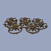 Antique Gargoyle Brass Drawer Pulls Renaissance Revival - Set of Eight c1860