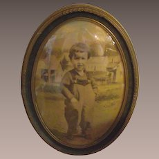 Vintage Large Oval Picture Frame with Convex Glass