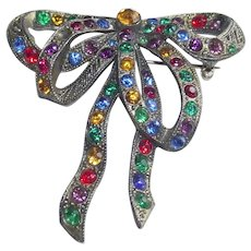Art Deco Bow Brooch with Multi –Colored Rhinestone Sets
