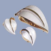 1960's Demi Parure Brooch and Earrings White and Gold Leaves