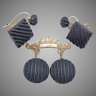 Victorian Vulcanite Mourning Brooch and Matching Earring Set