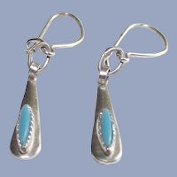Sterling and Turquoise American Indian Baby Earrings