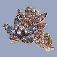Floral Rhinestone Brooch Pinks and Blues with Clears