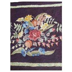 20th C Antique American Folk Art Floral Design Wool Hooked Rug