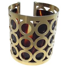 Mid Century Trifari High Style Bangle Brass Circles with  Lucite Tortoise Liner