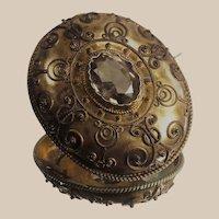 Citrine Brooch Gilt over Silver Etruscan Victorian Circa 1850