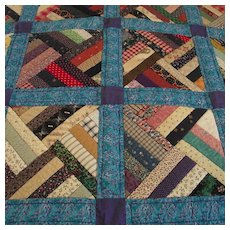 Vintage Hand Made Log Cabin Variation Quilt