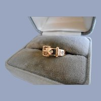 Victorian Buckle Ring with Diamonds 14 Karet Gold