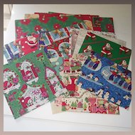 Vintage Christmas Wrapping Paper Four Sheets C 1960s