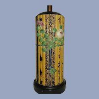 Minton Bamboo Pattern Majolica Table Lamp
