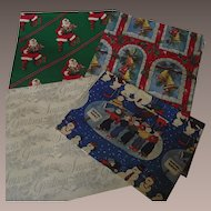 Vintage Christmas Wrapping Paper Four Sheets