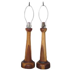 Pair of Mid Century Inlaid Turned Wood Parquetry Table Lamps