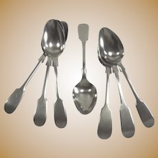 English Silver High Tea Spoons  Fiddle Head Pattern