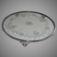 Art Deco Silver Plate Plateau Glass Center