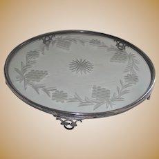 Art Deco Silver Plate Plateau Glass Center