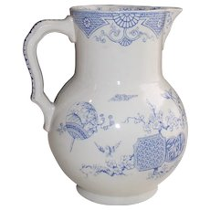 Blue and White English Ironstone Pitcher - Aesthetic Transferware with Fan Pattern