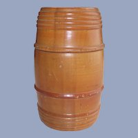 Vintage Wooden Barrel Thread Holder with Threaded Top