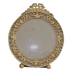 Round Picture Frame Table Top with Ribbon Bow Late Victorian