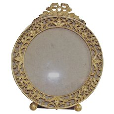 Table Top Round Picture Frame with Ribbon Bow Finial  Late Victorian