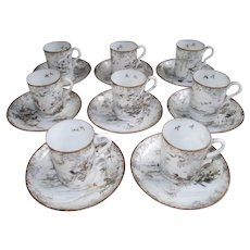 Japanese Nine Demitasse Cup Saucer Sets with Hand Painted Birds and Cherry Blossoms c 1880