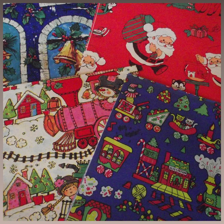vintage christmas wrapping paper four patterns with two sheets each c 1960s - Vintage Christmas Wrapping Paper
